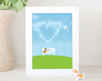 Dog Print - Dogs in love sitting on Bench watching love kite flying in the sky, JRT Print, Print for dog lover, Mongrel Dog, Gift Under 10