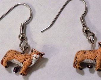 Cougar, Panther & Lion 3D Earrings - Four Styles to Choose From
