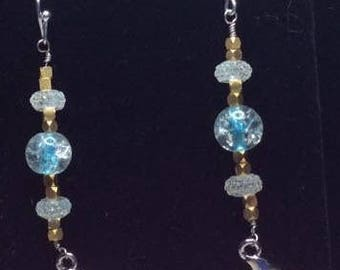 Handmade glass, gold plated silver and Dolphin charm earrings