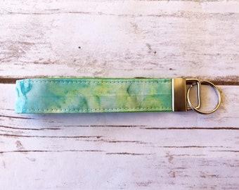Green batik key fob / keychain / wristlet