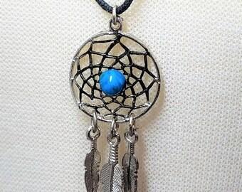 25% OFF SALE Vintage Dream Catcher Necklace on Black Cord