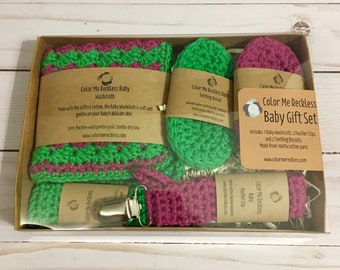 Baby Gift Set - washcloth - pacifier clip - teether - crochet - 100% cotton