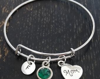 Mom Bangle Bracelet, Adjustable Expandable Bangle Bracelet, Mom Bracelet, Mother Bracelet, Mommy Bracelet, Mom Birthday, Mom Gifts, Mother