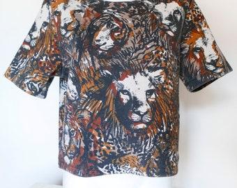 Vintage cotton shirt-Blouse-Top- Animal Blouse-Animal lion pattern-Vintage HM top