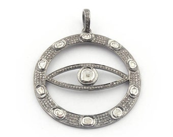 Memorial Day Sale 1 PC Pave Diamond Evil Eye With Rose Cut Diamond Round Pendant - 925 Sterling Silver 48mmx44mm PD1455