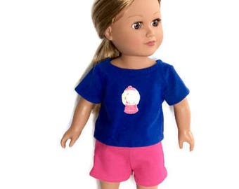 18 Inch Doll Clothes, Shorts and Top, Blue T-Shirt, Pink Shorts, Bubble Gum Machine T-Shirt, Summer Doll Clothes