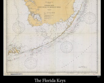 Los Cayos Florida Map.Florida Keys Map 1929 Vintage Map Of Florida Keys Nautical