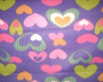 Hearts on Purple Fleece Blanket