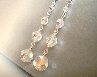 Long dangle crystal earrings, Austrian crystal graduated beads Aurora Borealis, Sterling Silver wire linked bridal earrings, crystal jewelry