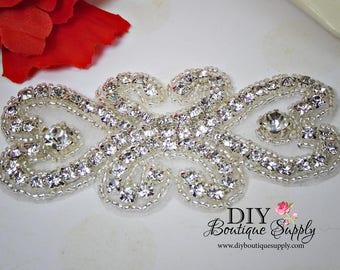 Flower girl rhinestone Headband Applique Sash Applique - Lovely Rhinestone applique - Crystal Applique bridal wedding garter applique - N170