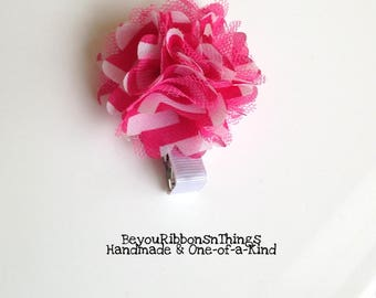FLOWER, Pink, Chiffon, 2 inch, Hair Barrette, Hair Clip, Toddler Barrettes, Accessories, Hair Accessories, Kids, Gift Idea, Gift for her