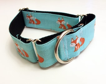 Cute Little Foxes! - Handmade MARTINGALE or BUCKLE dog collar