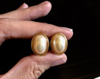 Avon Faux Pearl Clip On Earrings