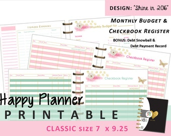 Happy Planner Monthly Budget and Checkbook Register Inserts - PRINTABLE PDF - Classic 7 x 9.25  Create 365 | Me & My Big Ideas | mambi