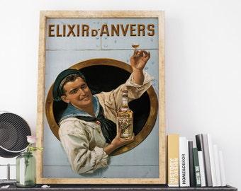 Elixir D Anvers by Gerard Portielje Vintage Belgium Advertising Poster Art Print