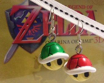 Nintendo Super Mario Red and Green Shell earrings