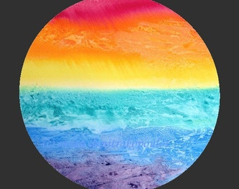 Rainbow print, wall art, black or white background, landscape, print, gift giving, home decor, red, orange, yellow, green, blue, purple
