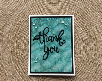 Handmade Greeting Cards:  Thank You card. Alcohol ink colored card.