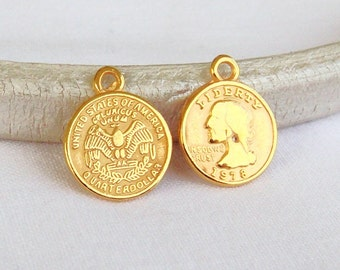 Gold Plated Tiny Quarter Dollar Coin Charm American Coin, Coin Imitation, Earrings Coin Charm, Necklace Charm Pendant, 13x15mm - 2pcs