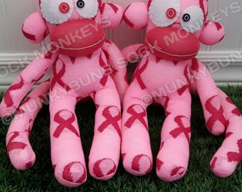CLEARANCE Pink Ribbon Sock Monkey Doll