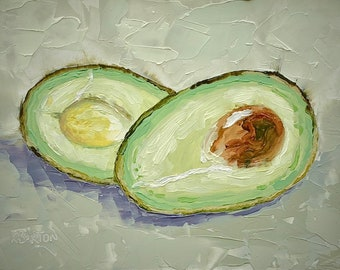"Avocado Halves small still life ORIGINAL oil painting by Karen Barton 5""x7"""