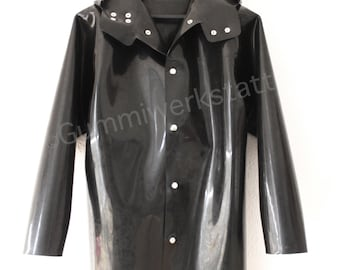 Heavy rubber (1,5 mm) jacket with hood