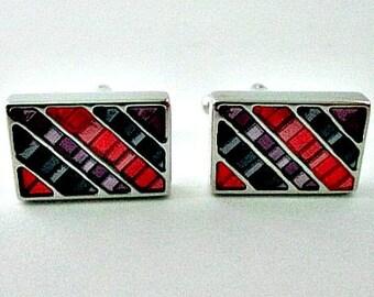 Vintage Cuff Links Cufflinks - Silver Grey Purple Red Cufflinks - Vintage Men's Jewelry Gift