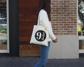Harry Potter Tote Bag - Platform Nine and Three Quaters - 9 3/4  - Hogwarts Express Fandom Tote Bag