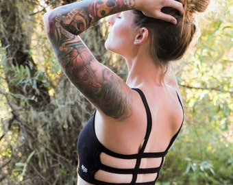 Trinity Sports Bra in Onyx/Black Yoga Top/Black Sports Bra/Festival Top/Black Yoga Wear/Athletic Top/Boho Bra/ Festival Top/ Womens Yoga Bra