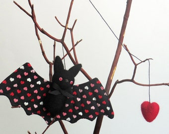 Valentine's day bat plush, needle felted animal ornament with a red felted heart, Valentine decor