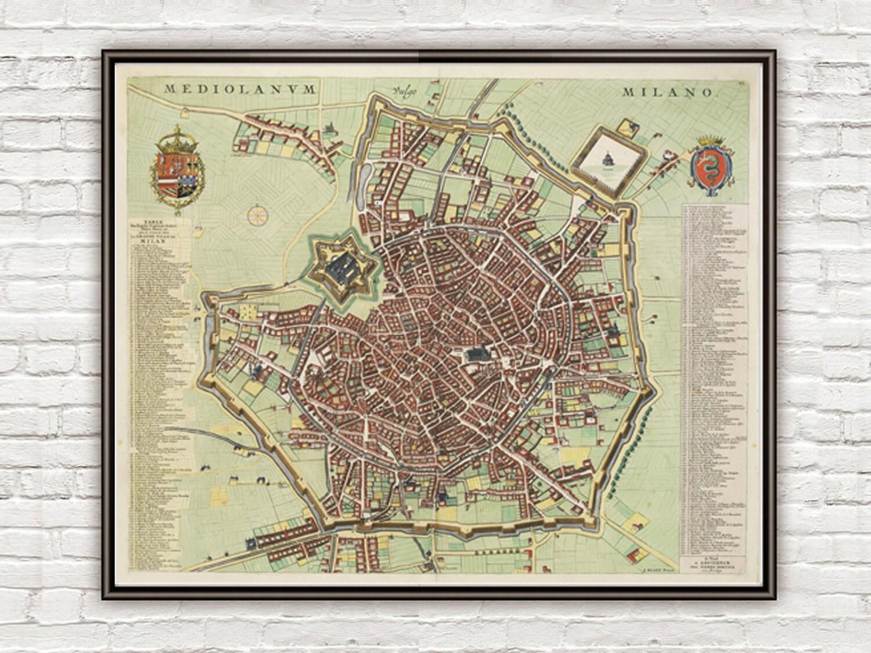 Antiguo mapa de Milán Milano grabado en Italia 1700 antiguos
