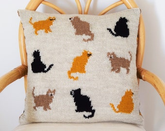 Cat Cushion Knitting Pattern, Cat Pillow Knitting Pattern, pdf download cat knitting pattern, Intarsia knitting pattern for cats, cats chart