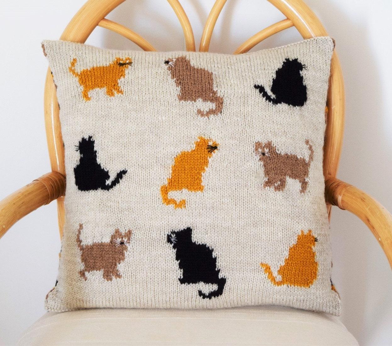 Cat Cushion Knitting Pattern, Cat Pillow Knitting Pattern, pdf ...