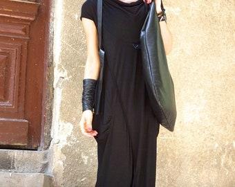 SALE NEW Collection SS/15 Black Extravarant Maxi Dress /Viscose  Maxi Tunic /Short Sleeves Asymmetric Dress /Two side pockets by Aakasha A03