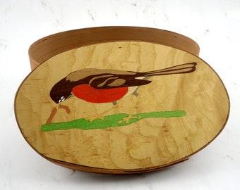 Shaker oval box with Robin inlay jewelry trinket bird marquetry veneer basket