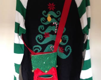 Men's Ugly Christmas Sweater Brand Christmas Tree XLTall with Bottle Carrier Cross Body Pouch Tacky Sweater