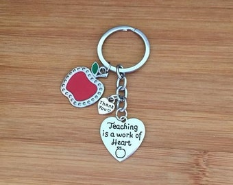 Teaching is a work of heart keychain heart red apple charm teacher gift appreciation thank you end of year