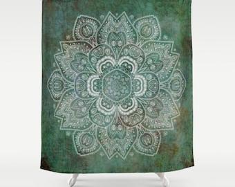 "Shower Curtain - 'Green and Silver Mandala' - 71"" by 74"" Home, Decor, Bathroom, Bath, Dorm, Girl, Decor, Hippie, Boho, Bohemian"