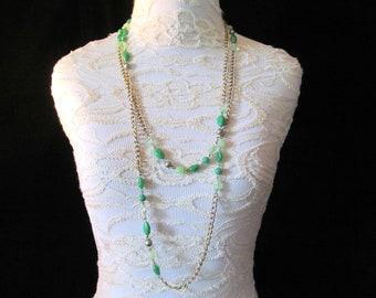 "Vintage Coro Long 64"" Green Lucite Plastic Bead Flapper Style Sautoir Chain Necklace"