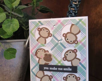 Monkey Smile Greeting Card || OOAK handmade blank card, monkey, plaid, encouragement, just because, animal