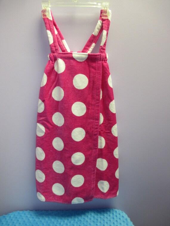Spa Wrap Children's Personalized Size Medium Hot Pink Polka Dot Towel Wrap FREE SHIPPING
