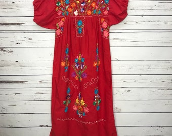 Red floral handmade Mexican ethnic dress Sz: Small