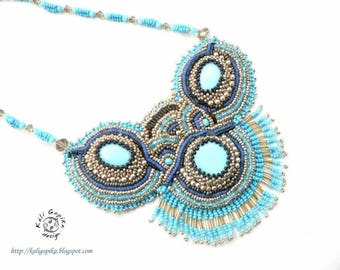 """Bead embroidered necklace """"Akuti"""""""