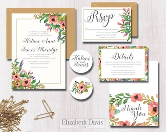 Watercolor floral wedding invitation printable | pink, blush, green, gold | Invitation + RSVP + Details + Thank You + 2 stickers