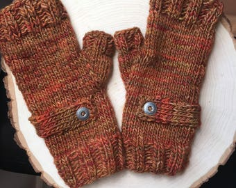 Fingerless Gloves, Orange Wrist Warmers, Knitted Fingerless Mitts, Knitted Fingerless Gloves, Merino Wool, Cabled Gloves, Cabled Mitts,