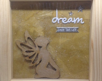 Dream - Love This Life - Kneeling Fairy Picture - Box Frame