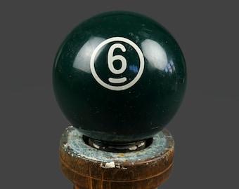 "No. 6 Bakelite Billiard Ball Size 2.25"" Six VI Green Color Pool Solids Antique"
