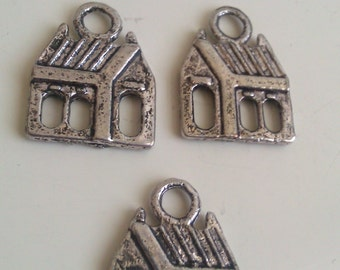 CLEARANCE 12  Tibetan Silver  House Charms Church Favor Package Tie On Housewarming