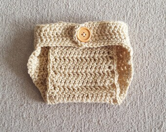 Crochet Baby Boy Baby Girl Diaper Cover, Photography Prop, Size Newborn and Infant – Buff