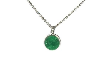 Forest / Emerald Druzy Necklace  | druzy necklace, gold necklace, silver necklace Caroline